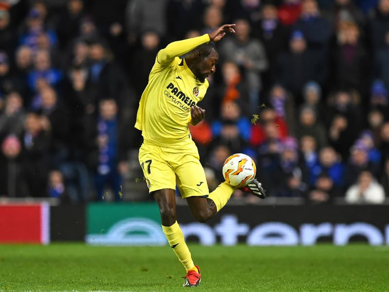 Villarreal's Cameroonian striker Karl Toko Ekambi controls the ball during the UEFA Europa League Group G football match between Rangers and Villarreal at Ibrox Stadium in Glasgow, Scotland on November 29, 2018. (Photo by ANDY BUCHANAN / AFP)