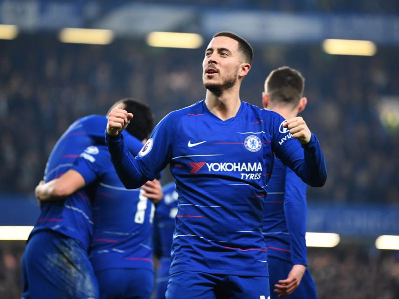 Eden Hazard of Chelsea celebrates his sides first goal during the Premier League match between Chelsea FC and Tottenham Hotspur at Stamford Bridge on February 27, 2019 in London, United Kingdom. (Photo by Clive Mason/Getty Images)