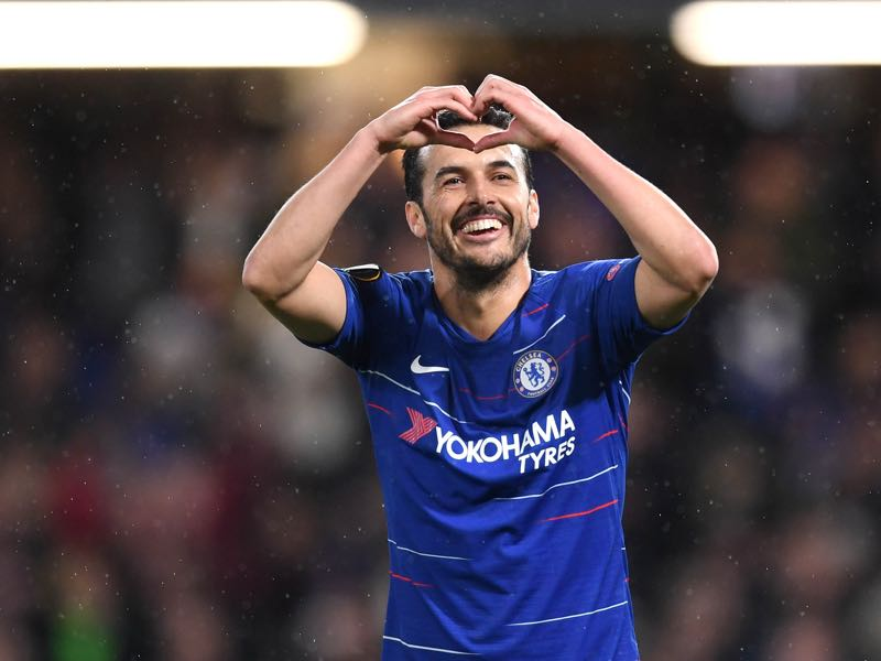 Chelsea v Dynamo Kyiv - Pedro of Chelsea celebrates after scoring his team's first goal during the UEFA Europa League Round of 16 First Leg match between Chelsea and Dynamo Kyiv at Stamford Bridge on March 07, 2019 in London, England. (Photo by Michael Regan/Getty Images)