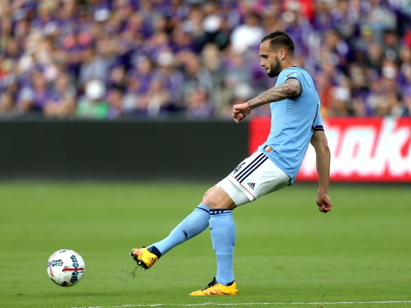 Maxime Chanot #4 of New York City FC kicks the ball during a MLS soccer match between New York City FC and Orlando City SC at the Orlando City Stadium on March 5, 2017 in Orlando, Florida. (Photo by Alex Menendez/Getty Images)