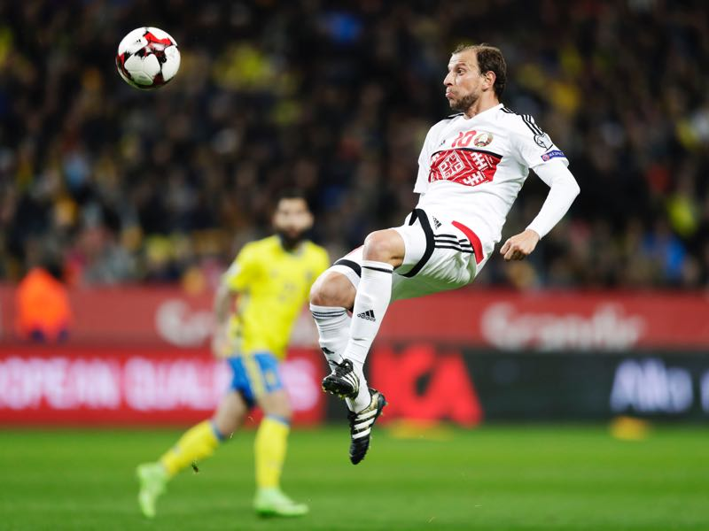Renan Bressan of Belarus during the FIFA 2018 World Cup Qualifier between Sweden and Belarus at Friends arena on March 25, 2017 in Solna, . (Photo by Nils Petter Nilsson/Ombrello/Getty Images)