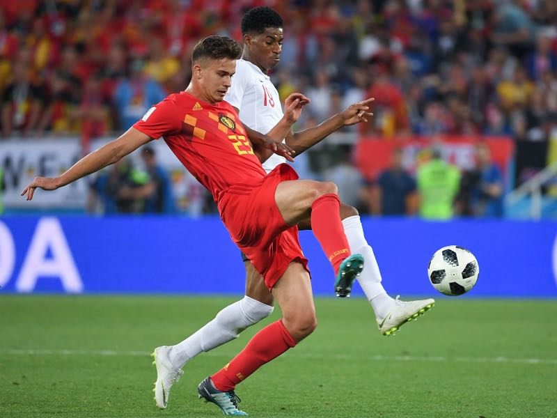 Belgium's midfielder Leander Dendoncker (L) vies with England's forward Marcus Rashford during the Russia 2018 World Cup Group G football match between England and Belgium at the Kaliningrad Stadium in Kaliningrad on June 28, 2018. (Photo by Patrick HERTZOG / AFP)