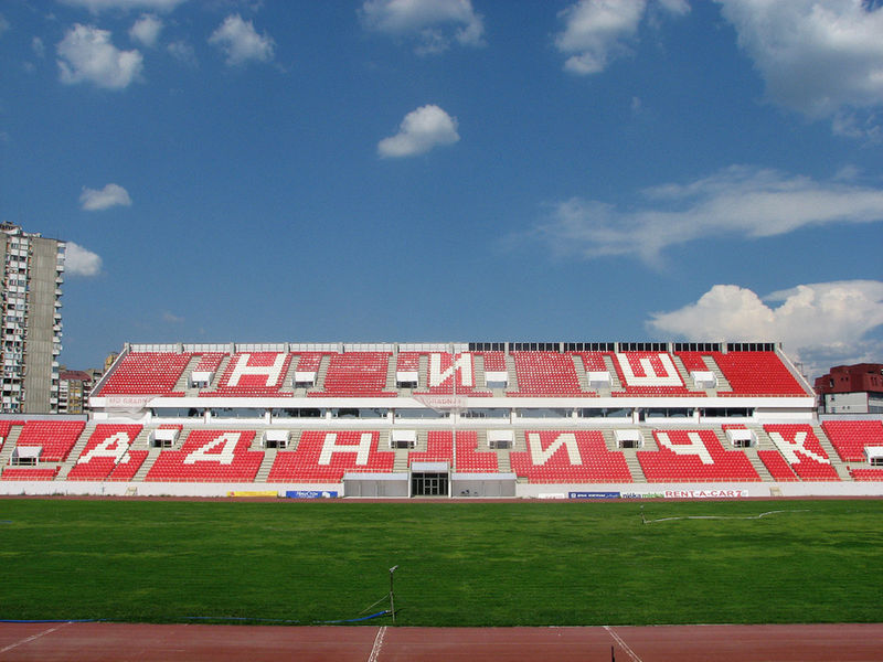 The Cair Stadion is the home of Radnički Niš (Zastavafan76 CC-BY-SA-3.0)