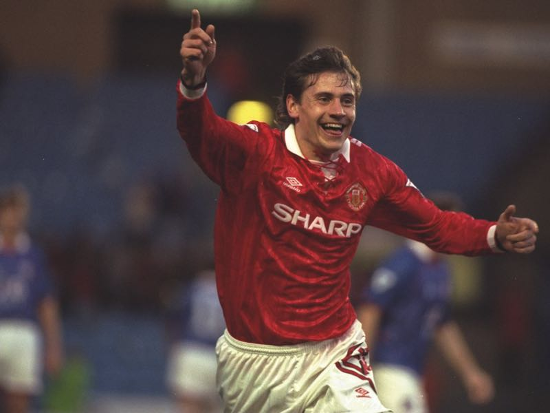 Andrei Kanchelskis of Manchester United celebrates his goal during the FA Cup semi-final replay against Oldham at Maine Road in Manchester. Manchester United won the match 4-1. \ Mandatory Credit: Mike Cooper/Allsport
