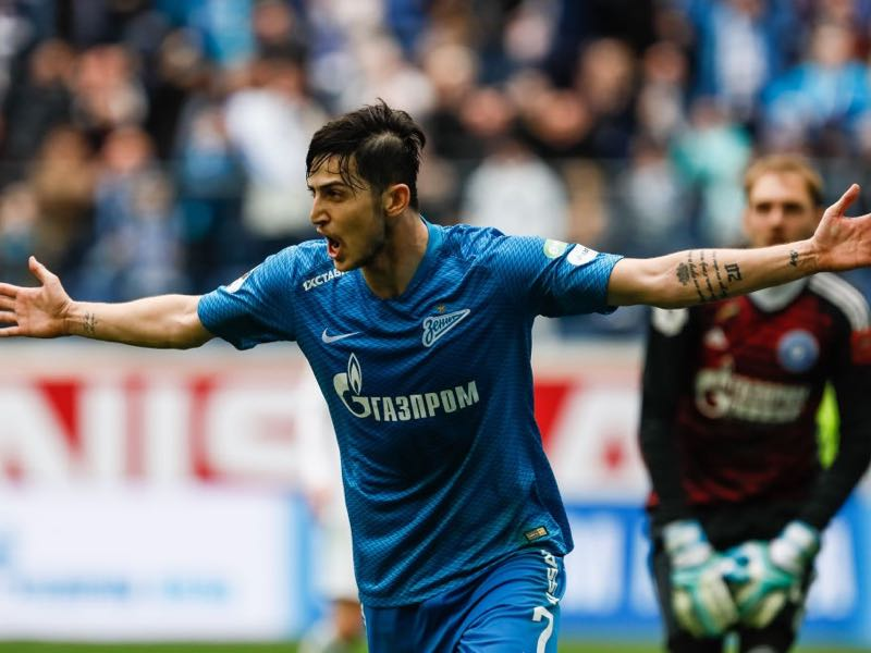 Sardar Azmoun of FC Zenit Saint Petersburg celebrates his goal during the Russian Premier League match between FC Zenit Saint Petersburg and FC Orenburg on March 31, 2019 in Saint Petersburg, Russia. (Photo by Epsilon/Getty Images)