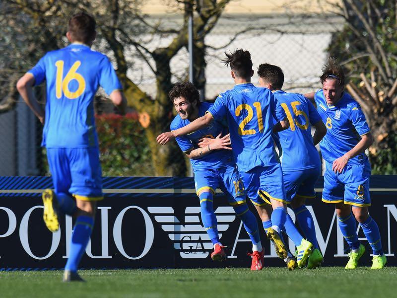Heorhii Tsitaishvili of Ukraine U19 celebrates after scoring the opening goal during the UEFA Elite Round match between Italy U19 and Ukraine U19 on March 23, 2019 in Abano Terme near Padova, Italy. (Photo by Alessandro Sabattini/Getty Images)