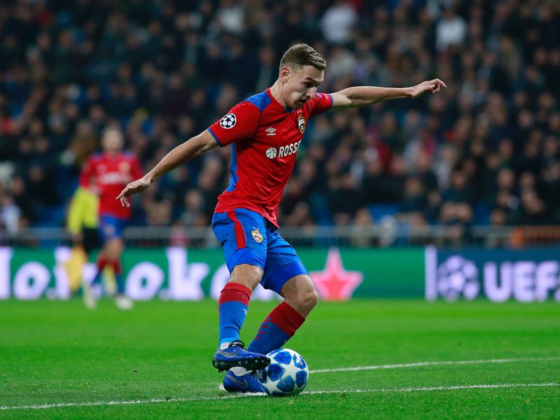 Fedor Chalov of CSK Moscow scores his team's first goal during the UEFA Champions League Group G match between Real Madrid and CSKA Moscow at Bernabeu on December 12, 2018 in Madrid, Spain. (Photo by Gonzalo Arroyo Moreno/Getty Images)