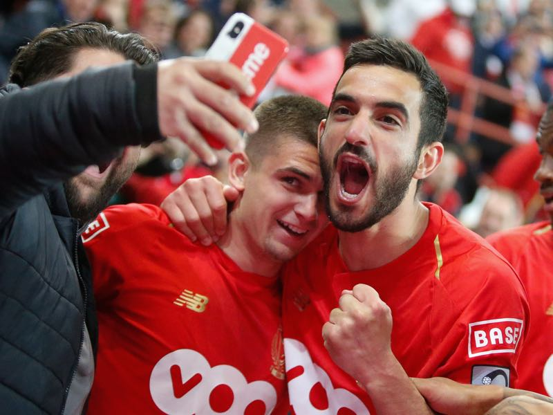 Konstantinos Kostas Laifis celebrate during a soccer match between Standard de Liege and Club Brugge, Thursday 16 May 2019 in Liege, on day 9 (out of 10) of the Play-off 1 of the 'Jupiler Pro League' Belgian soccer championship. (BRUNO FAHY/AFP/Getty Images)