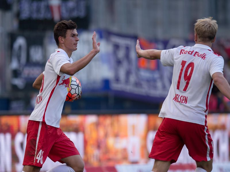 Smail Prevljak (left) and Havard Nielsen (right) of Salzburg celebrate after a goal during the tipico Bundesliga match between RB Salzburg and Austria Wien at Red Bull Arena on August 23, 2015 in Salzburg, Austria. (Photo by Andreas Schaad/Getty Images)