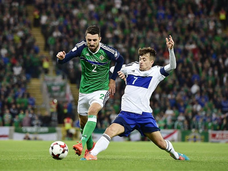 Conor McLaughlin (L) of Northern Ireland and Matteo Vitaioli (R) of San Marino during the FIFA 2018 World Cup Qualifier between Northern Ireland and San Marino at Windsor Park on October 8, 2016 in Belfast, Northern Ireland. (Photo by Charles McQuillan/Getty Images)
