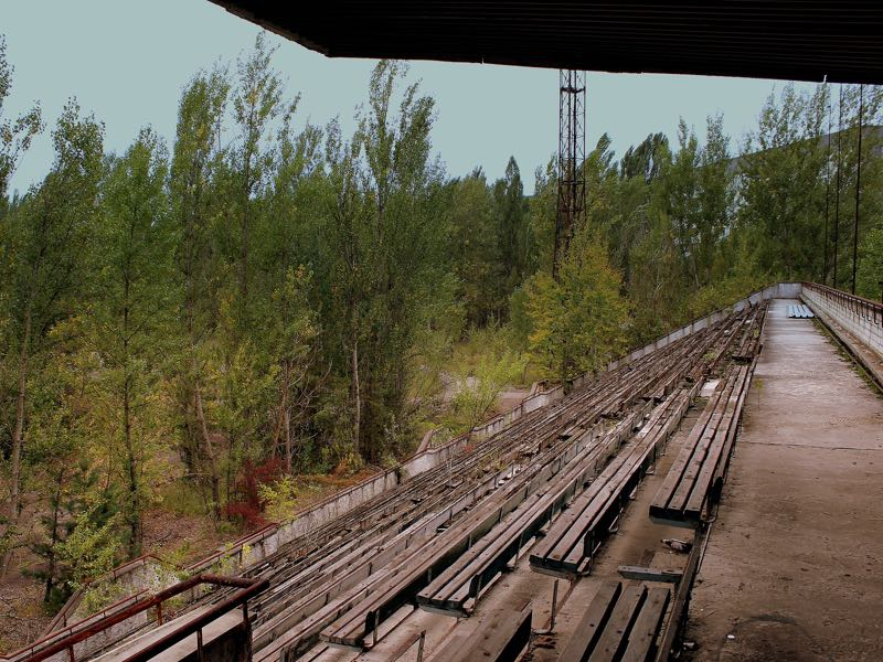 STROITEL PRIPYAT FOOTBALL GROUND NEAR THE CHERNOBYL PLANT NOW ABANDONED UKRAINE SEP 2013 (CC-BY-SA-2.0)