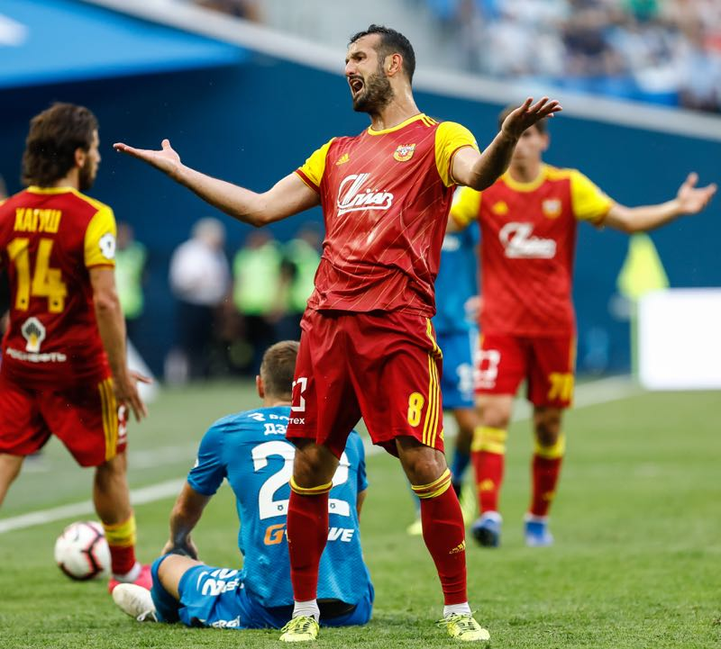 Gia Grigalava (C) of FC Arsenal Tula reacts during the Russian Premier League match between FC Zenit Saint Petersburg and FC Arsenal Tula at Saint Petersburg Stadium on August 4, 2018 in Saint Petersburg, Russia. (Photo by Epsilon/Getty Images)