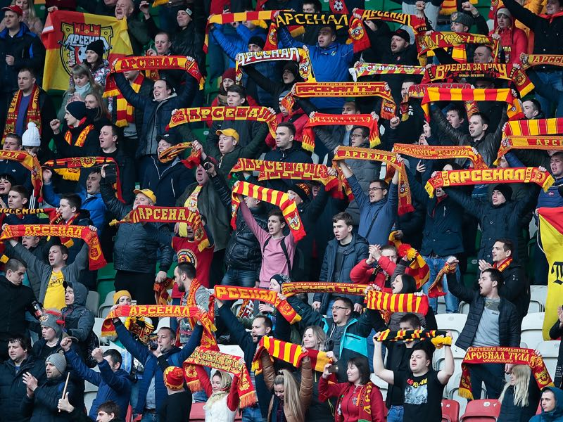 Fans of FC Arsenal Tula support their team during the Russian Premier League match between FC Arsenal Tula and PFC CSKA Moscow on March 2, 2019 in Moscow, Russia. (Photo by Epsilon/Getty Images)