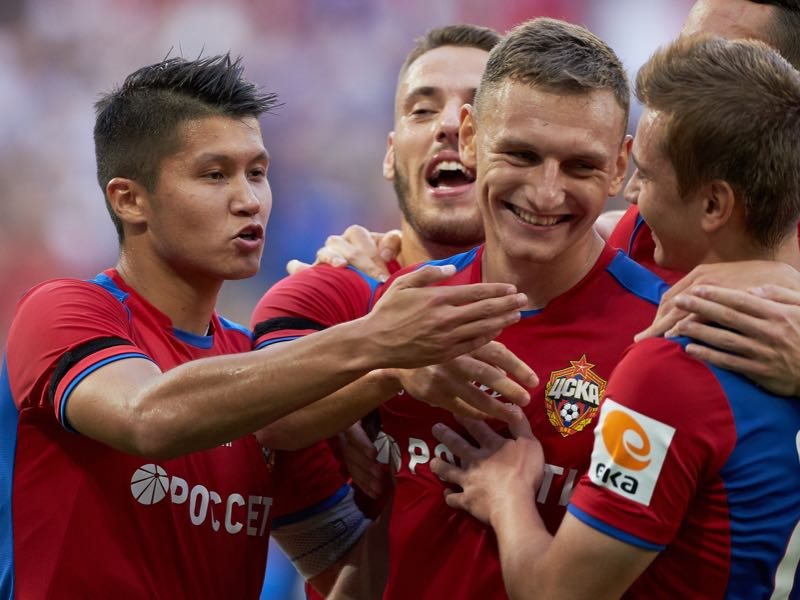 Fyodor Chalov (C) and his mates of PFC CSKA Moscow celebrate a goal during the Russian Football League match between PFC CSKA Moscow and FC Lokomotiv Moscow at Arena CSKA stadium on July 28, 2019 in Moscow, Russia. (Photo by Epsilon/Getty Images)