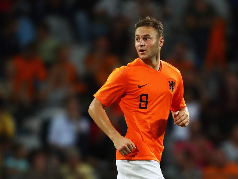 Teun Koopmeiners of the Netherlands celebrates scoring his teams first goal of the game during the UEFA European Under-21 Championship group 4 qualifying match between Netherlands and Scotland at Stadion De Vijverberg on September 11, 2018 in Doetinchem, Netherlands. (Photo by Dean Mouhtaropoulos/Getty Images)