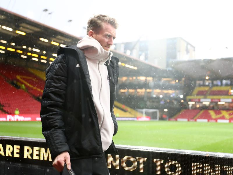 Andre Schurrle of Fulham arrives prior to the Premier League match between Watford FC and Fulham FC at Vicarage Road on April 02, 2019 in Watford, United Kingdom. (Photo by Dan Istitene/Getty Images)