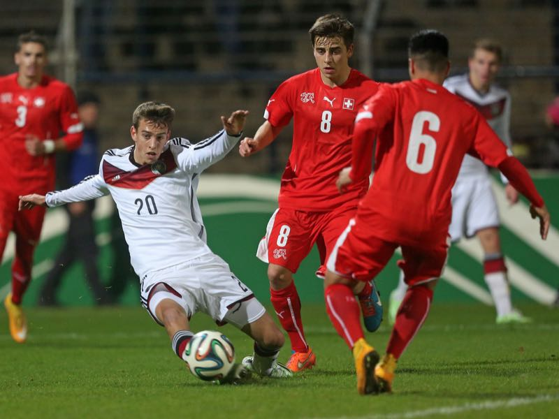 anik Haberer, Basil Stillhart and Musa Araz (L-R) battle for the ball during the U20 international friendly match between Germany and Switzerland at Karl-Liebknecht-Stadion on November 14, 2014 in Potsdam, Germany. (Photo by Matthias Kern/Bongarts/Getty Images)